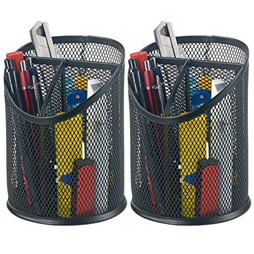 Bonsaii 2-Pack Round Steel Mesh Pen Pencil Desk Holder Organizer 3 Compartments,Black(W6809)