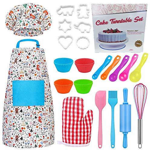 Set de cocina y horneado para niños, 30 piezas, auténtica herramienta de horneado, juego de rol con delantal, gorro de chef, utensilios, moldes para regalo de niños pequeños