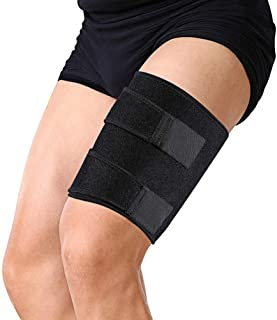 Thigh Brace Support Hamstring Wrap, Compression Sleeve with Anti-Slip Strip Support Thigh Quad Sprains, Tendonitis, Strains, Pulled Muscle Injury Rehab and Recovery, Fits Men and Women