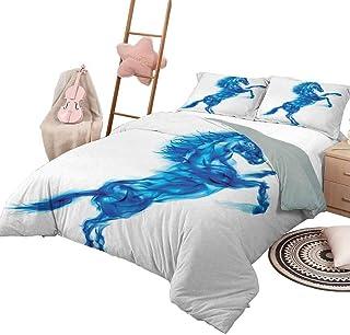 DayDayFun Funda nórdica Caballos Colchas de 3 Piezas Colcha Ilustración de Caballo de Fuego Azul Criado Blazing Devilish Moviéndose libremente Tema King Size Blanco Azul Oscuro
