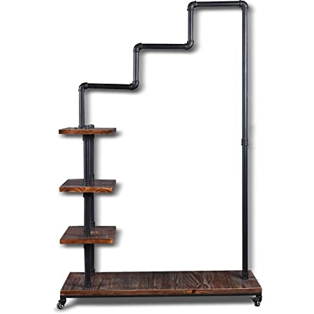 Diwhy Industrial Pipe Clothing Rack Pine Wood Shelving Shoes Rack Cloth Hanger Pipe Shelf 4 Layer