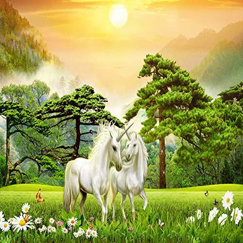 Murales, fotobehang van Murales, papier peint fotomuur, creatieve belle ensoleillée forest animal Unicorn Art Hd Grand formaat D'Impression peinture Murale En Soie Fond D'Affiche Pour Le Sal 24in×48in 60cm(H)×120cm(W)
