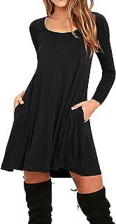 AUSELILY Women's Long Sleeve Pockets Casual Swing T-Shirt Dresses