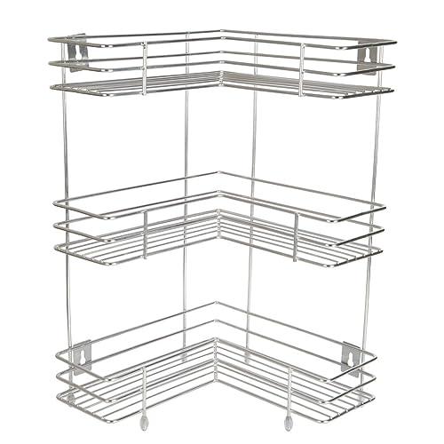 Embassy L-Shaped Corner Stand, Triple (3-Tier), 33X53 Cms, Stainless Steel (Multipurpose Storage Rack / Shelf - Kitchen, Bathroom Etc.)