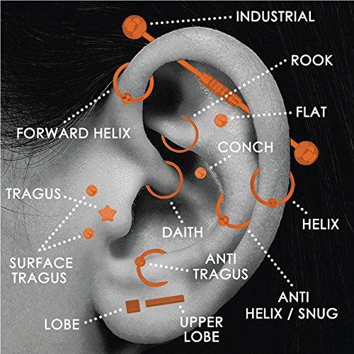 BodyJ4You 4PCS Labret Stud 16G CZ 6mm Surgical Steel Tragus Earring Lip Ring Monroe Piercing Jewelry Set