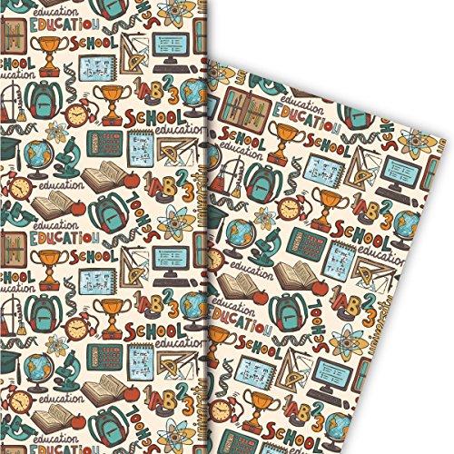 Kartenkaufrausch Cooles Schüler Geschenkpapier Set 4 Bogen, Dekorpapier mit Schul Motiv, für tolle Geschenk Verpackung, Musterpapier zum basteln 32 x 48cm