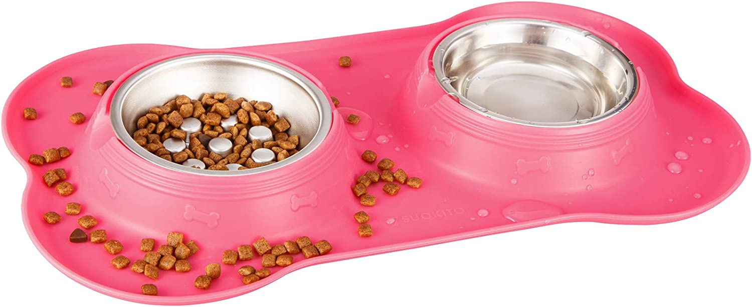 7SUOKITO Little Cat Extra Small Breed Dog Food and Water Bowls | Non-Tip, No Skid, Non-Spill Silicone Base with Stainless Steel Water Bowl and No Choking Slow Feeder, Ideal for Kittens and Puppies