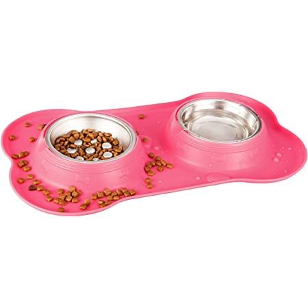 7SUOKITO Food and Water Bowl for Kittens, Non-Tip Stainless Steel Slow Feeder with No-Spill Silicone Base