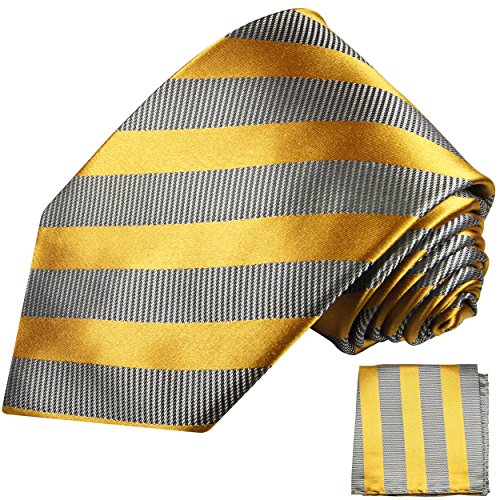 Cravate homme gris or rayée ensemble de cravate 2 Pièces ( 100% Soie Cravate + Mouchoir )