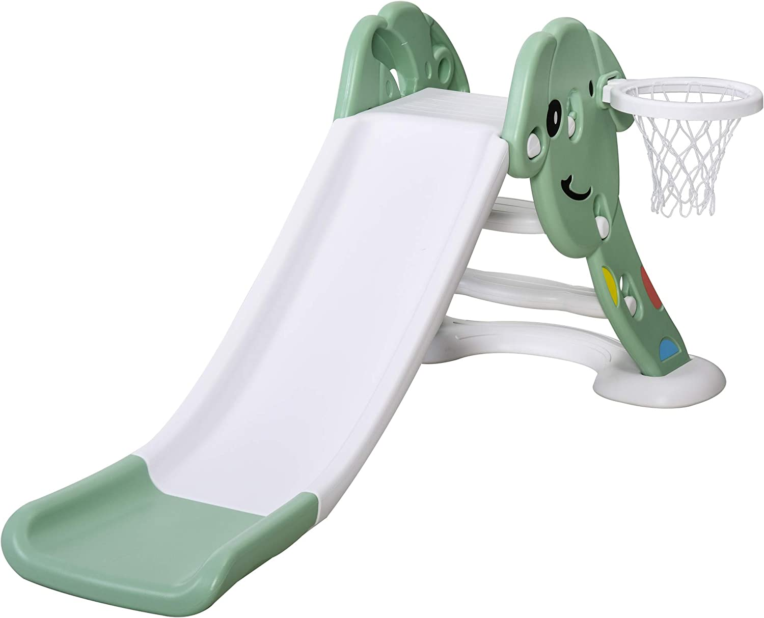 Qaba Indoor/Outdoor Kids Toy Slide with a Safety Triangle Design