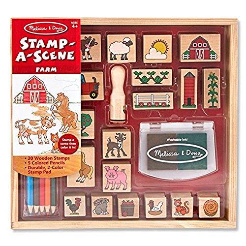 Melissa & Doug |Tampons pour enfants | Jeu de timbres en bois | La ferme