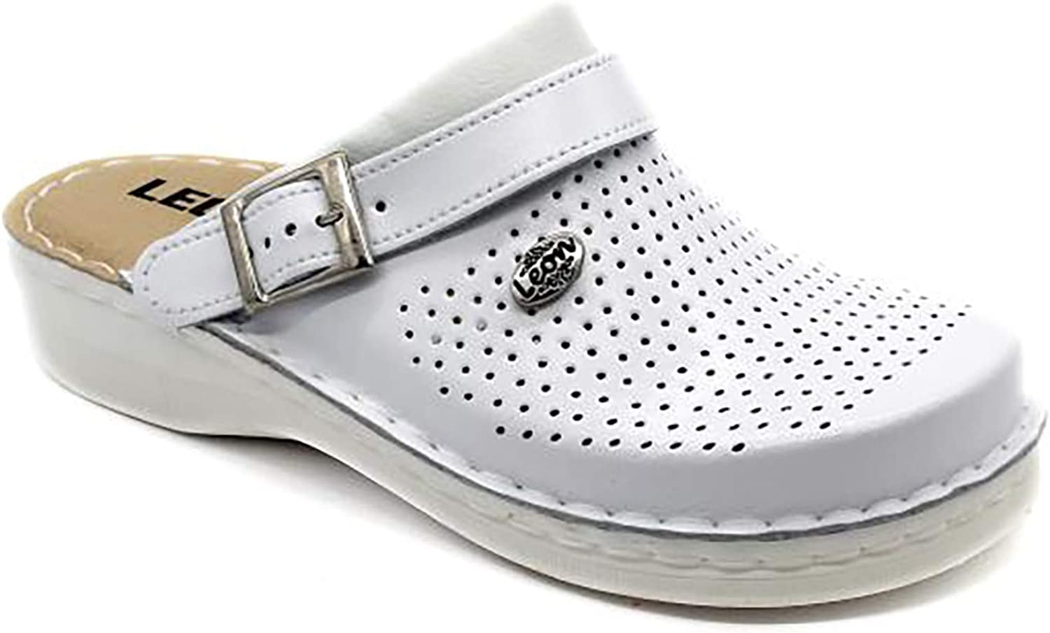 specialty shop LEON V202 Leather Slip-on Womens Ladies Shoe Mule 35% OFF Clogs Slippers