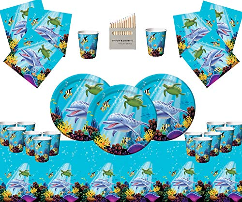 Ocean Party Supplies Kids Birthday Deluxe Tableware for 16 Guests- Under the Sea Fish Party Decorations