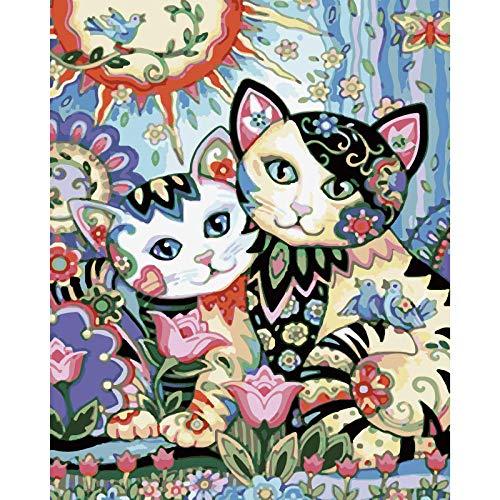 tuoweilai Pintura al óleo Dibujada a Mano Navidad Moderna del Gato Encantador DC297_ no Regalos de decoración de Halloween, Acción de Gracias, Navidad, Día de San Valentín, Día del Niño