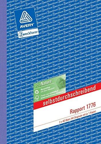 AVERY Zweckform 1776 Rapport (A5, selbstdurchschreibend, von Rechtsexperten geprüft, für Deutschland und Österreich zur Dokumentation von Arbeitsleistung und Materialverbrauch, 2x40 Blatt) weiß/gelb