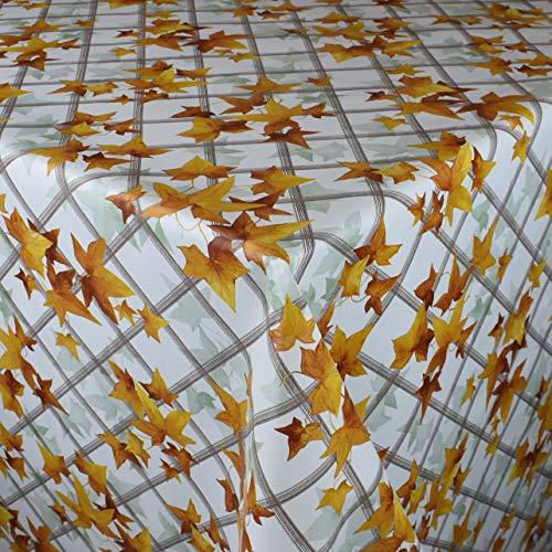 KEVKUS Wachstuch Tischdecke Meterware C141032 Blätter Laub Efeu Ranken floral Herbst kariert wählbar in eckig rund oval (Rand: Paspel (mit Kunststoffband), 140 x 200 cm oval)