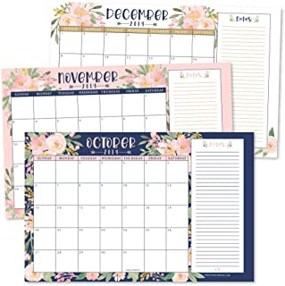 Navy Floral 2020 Large Monthly Desk or Wall Calendar Planner, Big Giant Planning Blotter Pad, 18 Month Academic Desktop, Hanging 2-Year Date Notepad Teacher, Family Home or Business Office 11x17