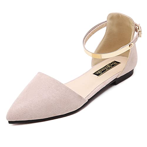78429037dee Meeshine Womens D Orsay Pointy Toe Ankle Strap Buckle Comfort Ballerina  Ballet Flats Shoes
