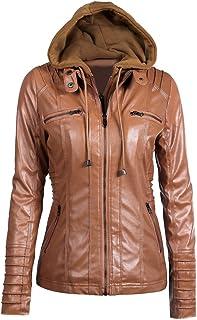 Funien Women's Faux Leather Hooded Jacket Zippered Hoodie Short Slim Motorcycle Jacket Coat