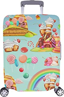 Sweet Candy Land Cartoon Game Pattern Spandex Trolley Case Travel Luggage Protector Suitcase Cover 28.5 X 20.5 Inch