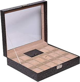 Laveri 14 Watch Ring and Cufflinks Top Glass Box, Grey