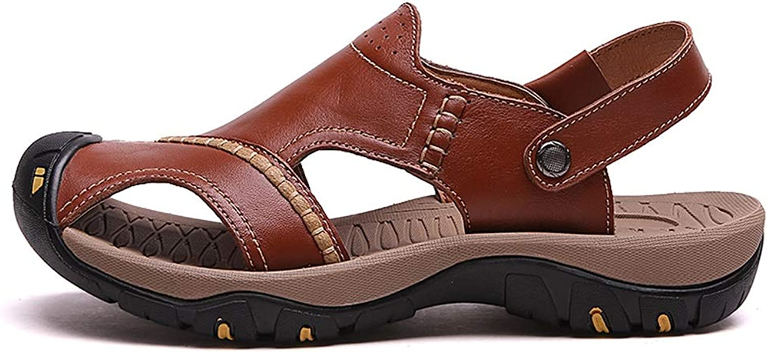 Jun Sandals for Men Leather Hiking Sandals Athletic Walking Sports Fisherman Beach shoes Closed Toe Water Sandals (color   Brown, Size   9.5 D(M) US)