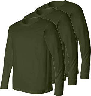 Military Style US Olive Drab Long Sleeve Men's T-Shirt, Elastic Cuff, 3 Pack,Made in The USA, Perfect for a Base Layer