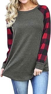 Ezcosplay Color Block Shirt Plaid Raglan T-Shirt Patchwork Tunic Tops for Women