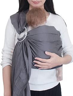 Vlokup Baby Sling Ring Sling Carrier Wrap | Extra Soft Lightweight Cotton Baby Slings for Infant, Toddler, Newborn and Kids | Great Gift, Lightly Padded Adjustable Nursing Cover Grey