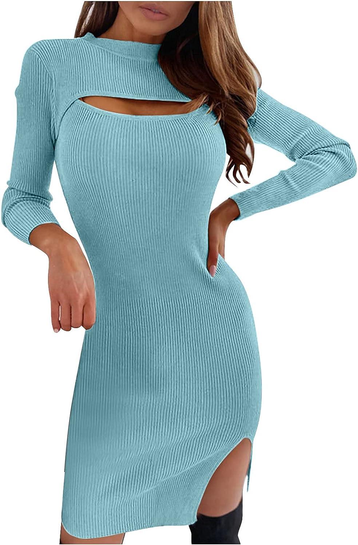 ManxiVoo Women's Long Sleeve Knitted Sweater Dresses Cut Out Front Split Midi Dress Basic Pencil Dress