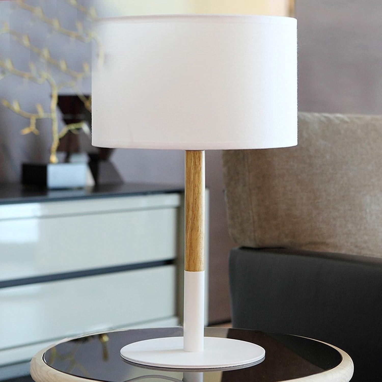 GJ- Scandinavian modernen minimalistischen Massivholz Tischlampe Tischlampe Kreative Persnlichkeit warmes Schlafzimmer Nachttischlampe (Energieeffizienzklasse A +) (Farbe   Wei)