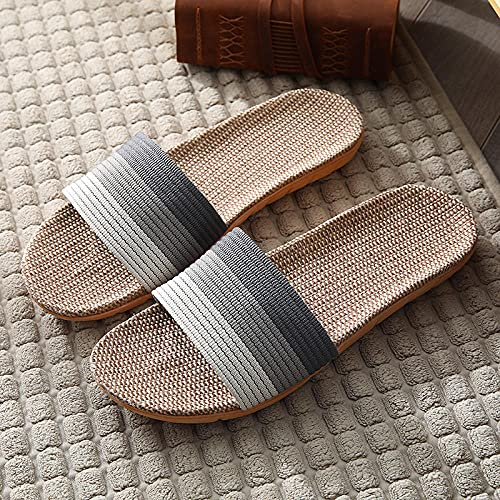 ypyrhh Sandalias de Playa Plataforma Zapatilla,Llantas de Lino para los Amantes del hogar,Zapatillas de algodón Interior y Anti-Fresco de Lino-Gris_35-36,Sandalias de Dedo Cómodas para Hombres
