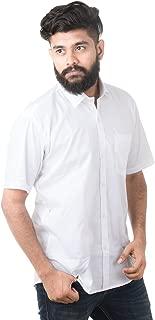 JPF Smart Mens Cotton Regular Fit Formal Half Sleeve Shirt with Pocket Colorful Summer Formal Clothing (White)