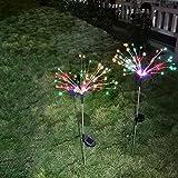 Lámpara solar de 150 LED para jardín, resistente al agua, para exteriores, 2 modos de iluminación, para exteriores, para terraza, césped, jardín, patios traseros, caminos (2 unidades, multicolor)