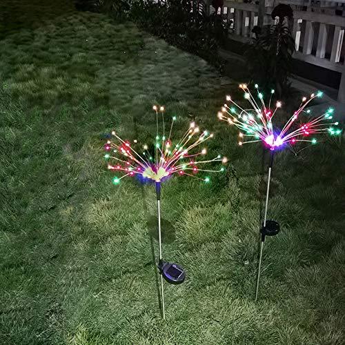 Solar Firework Lights,150 LED Powered 40 Copper Wires String Landscape Light,Outdoor Garden Lighting,Waterproof Chandelier Light,2 Mode Battery Powered for Garden,Christmas,Outdoor(2 Pack,Cool-White)