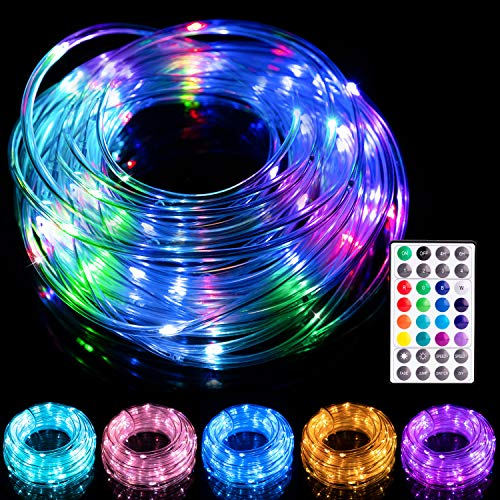 LED Rope Lights Outdoor 16 Colors , 33ft 100 LED Fairy String Lights, Changing Twinkle Lights with Remote USB Powered,Waterproof Clear Tube LED Rope Lights for Wedding,Garden,Party, Christmas Tree