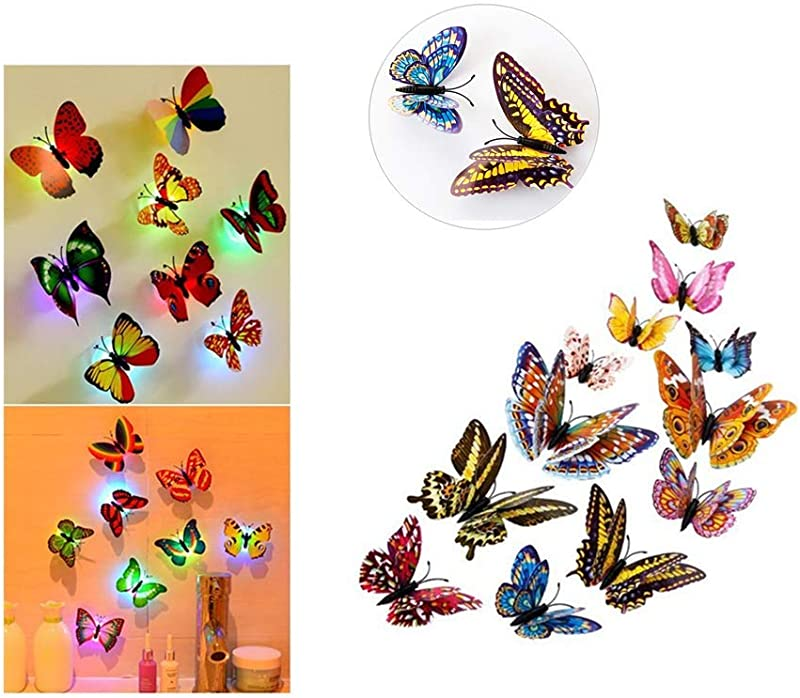 Wall Stickers Cute 12pcs 3D Butterfly Rainbow Decal Wall Stickers Kids Bedroom Home Decorations