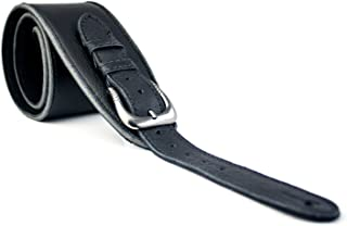 UK Made Black Vintage Extra Wide Soft Real Leather Guitar Strap with Buckle Adjustable Length