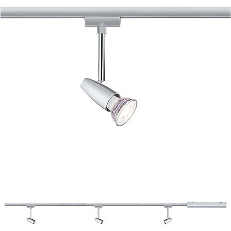 Paulmann 954.59 URail Set Bareli - Kit d'éclairage sur rail avec bloc d'alimentation, connecteur, rail de 1m & 3 spots - Set de luminaires modernes sur rail pour plafond GU10 max 10W 230V, Chromé
