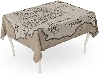 Emvency Rectangle Tablecloth 60 x 102 Inch Abstract Old Fantasy Romania Map Ancient Antique Bucharest Cartography Castle Table Cloth