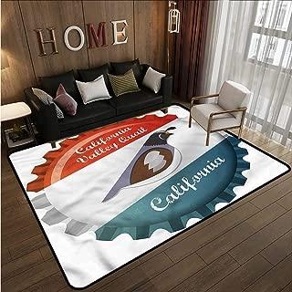 Skid-Resistant Rug Quail California Valley Graphic Anti-Slip Doormat Footpad Machine Washable 3'3