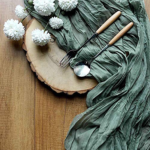 BalsaCircle 10 feet Olive Green Cotton Cheesecloth Gauze Extra Long Table Runner Wedding Party Reception Home Decorations Supplies