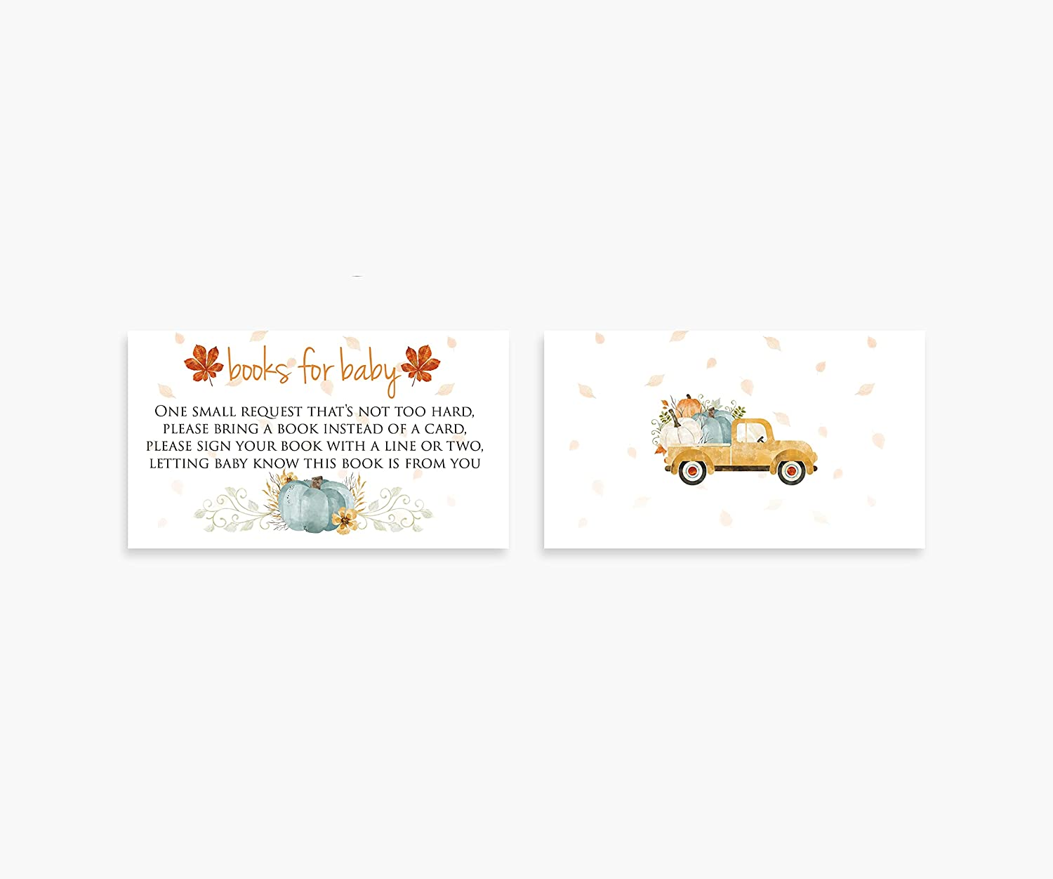 Books For Baby and Diaper Raffle Shower Request Cards, Invitation Inserts, 50 Each (Little Pumpkin)