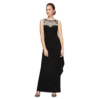 Alex Evenings Long Sleeveless Matte Jersey Dress (Black/Light Gold) Women