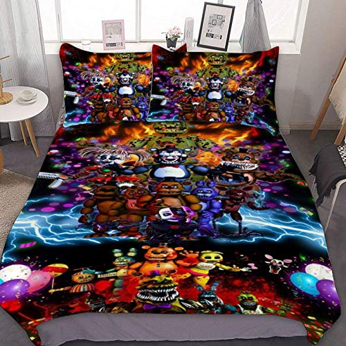 Five Nights at Freddy's - Bear Cute Game Cartoon Bedding Sets Duvet Cover Set 3D Pinted Lovely Soft/Breathable,Microfibre(Queen Size 229x229cm)