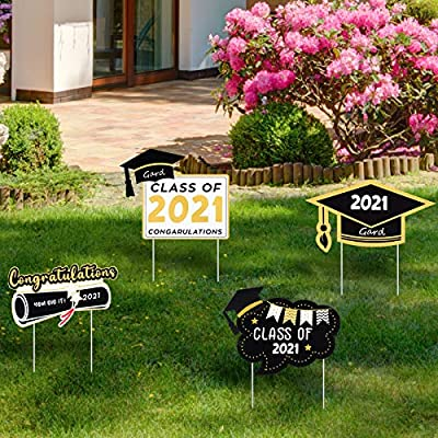 Namalu 4 Pieces 2021 Graduation Party Yard Signs Class of 2021 Stake Signs Outdoor Lawn Decorations for 2021 Graduation Party