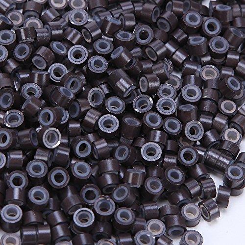 Elailite Microring per Extension 1000pezzi in Silicone 5mm Micro Anelli Allineato Collegamento Link Lined Beads per I Tip Extension Capelli Veri Cheratina Accossori, Marrone Scuro
