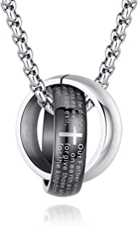 Stainless Steel English Lord's Prayer Cross Ring Pendant Necklace for Men Women, 20-22 Inch Chain