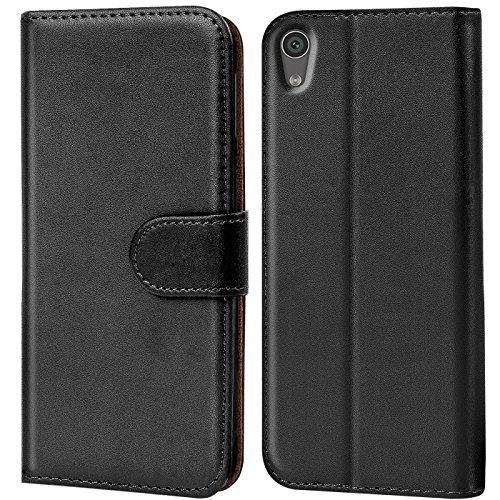 Conie Handyhülle für Sony Xperia XA1 Hülle, Premium PU Leder Flip Hülle Booklet Cover Weiches Innenfutter für Xperia XA1 Tasche, Schwarz