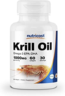 Nutricost Krill Oil 1000mg, 60 Softgels - Omega-3 EPA-DHA Krill Oil Supplement